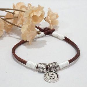 Initail Letter Charm Brown Leather Boho Bracelet